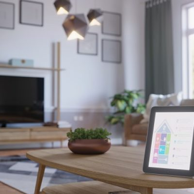 Smart Home Control With Tablet in scandinavian style living room interior. ( 3d render )